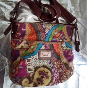 Fossil Pattern Canvas Purse with Key Fob
